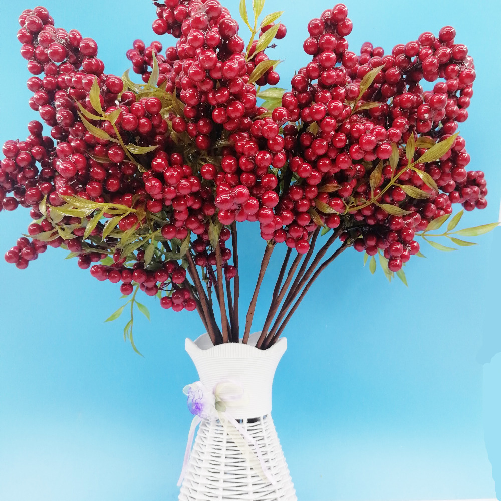 Artificial mini cherry berries fake pearl flower stamen for Artificial cherries decoration
