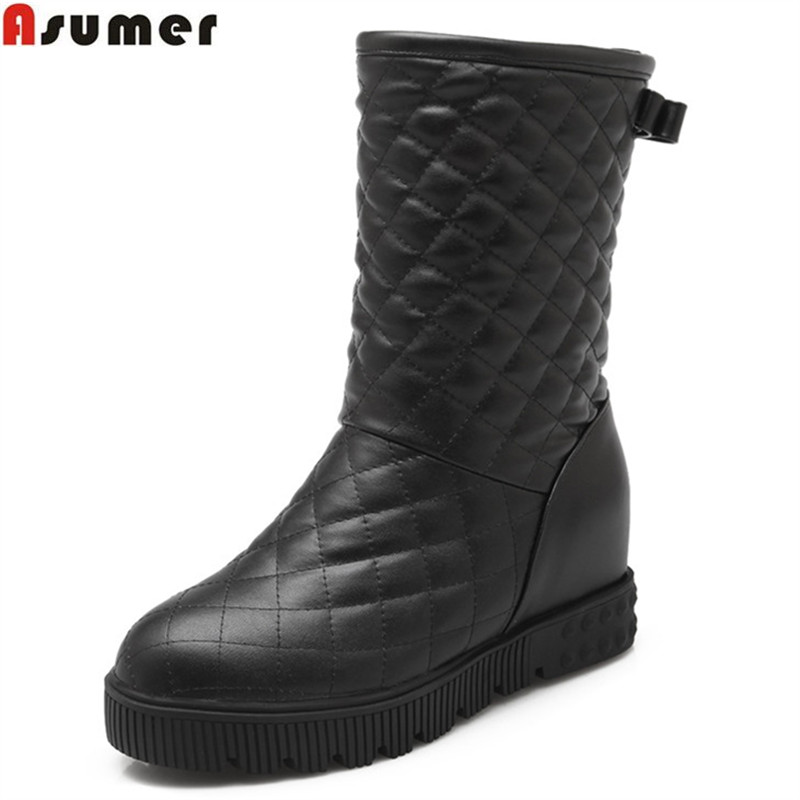 ASUMER black white pink new arrive women boots fahsion solid color ladies snow boots simple Keep warm bowknot ankle boots
