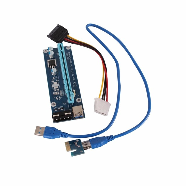 Mining Dedicated Graphics Card PCI-E To PCIE Riser Card 1X To 16X Cable PCE164P-NO3 With 6 Pin To SATA Power Supply USB 3.0
