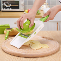 TTLIFE Multi Mandoline Vegetable Slicer Grater With 5 Blades Kitchen Set Potato Carrot Dicer Peeler Salad