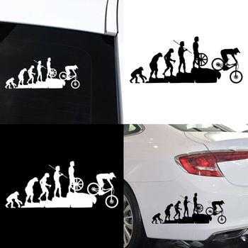 Śmieszne naklejki samochodowe ewolucja człowieka MTB rower samochód odblaskowe naklejki dekoracja naklejki winylowa tablica naścienna odporne na zarysowania wodoodporne