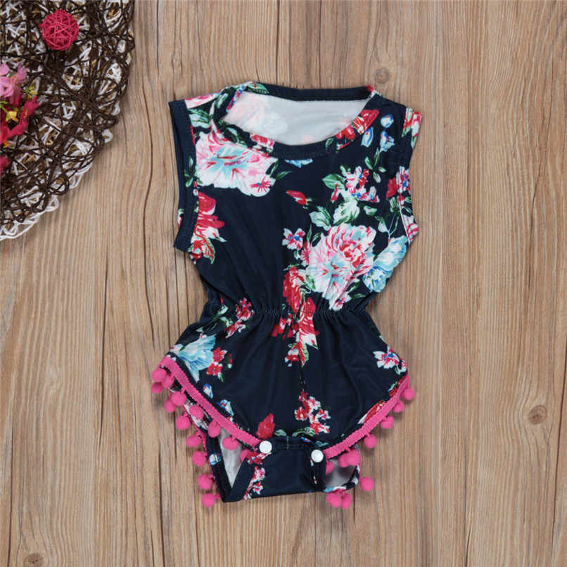 Newborn Baby Clothes Baby Rompers Girls Infant Baby Short Sleeve Flower Print Tassel Jumpsuit Romper+Headband Baby Costume #L5
