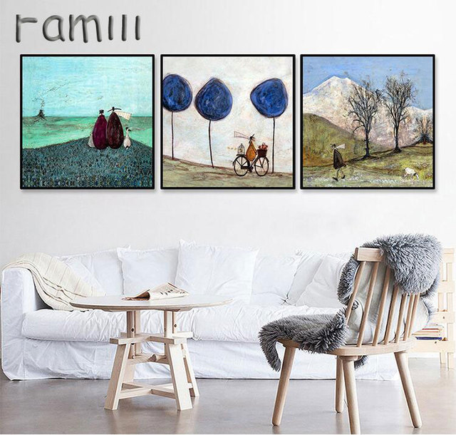 Happy Family Abstract Love Canvas Painting Vintage Posters Prints  Scandinavian Nordic Wall Art Pictures For Bedroom