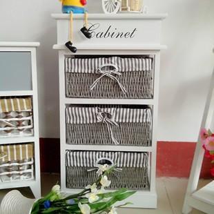 Storage cabinet wood rattan storage cabinet storage cabinet three drawer cabinet