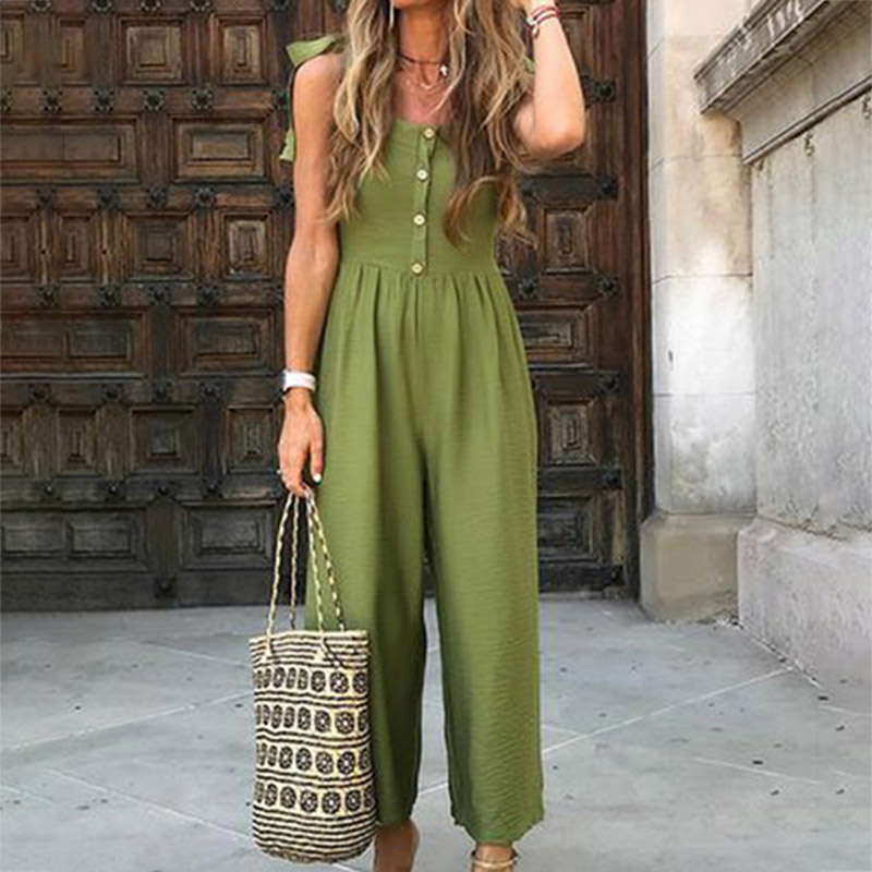 Newly V-Neck Green Simple   Jumpsuit   Women Casual Summer with Buttons Shoulder Belt Bandage   Jumpsuit