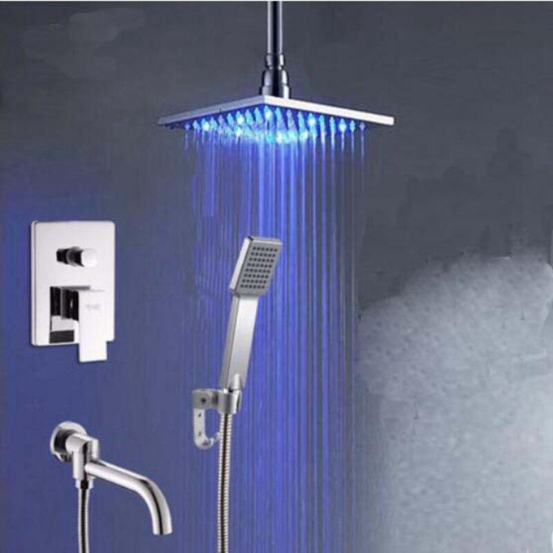 Chrome Ceiling Mounted 8 LED Shower Faucet Hand Shower Sprayer Tub Spout Set Mixer Tap thermostatic valve mixer tap w hand shower tub spout tub faucet chrome finish
