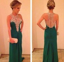 2014 New coming Green Prom dress A Line Chiffon Beaded Squins Crystals High Collar Back Transparent Formal Evening Gown