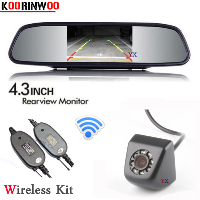 Koorinwoo 2018 Wireless Parking System 4.3inch Monitor 800*480 CCD HD Car Rearview Camera BackUp Night vision 8 Led Reverse Cam