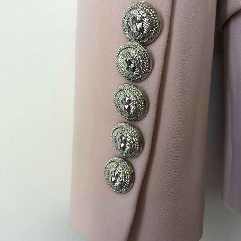 HIGH QUALITY New Fashion 2019 Designer Blazer Jacket Women's Metal Lion Buttons Double Breasted Blazer Outer Coat Size S-XXL