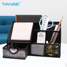 TIANSE Mesh Metal Made Pen Holder Pencil Storage Ruler Stand Desk Organizer Office Stationery Container Square Cosmetic Supplies