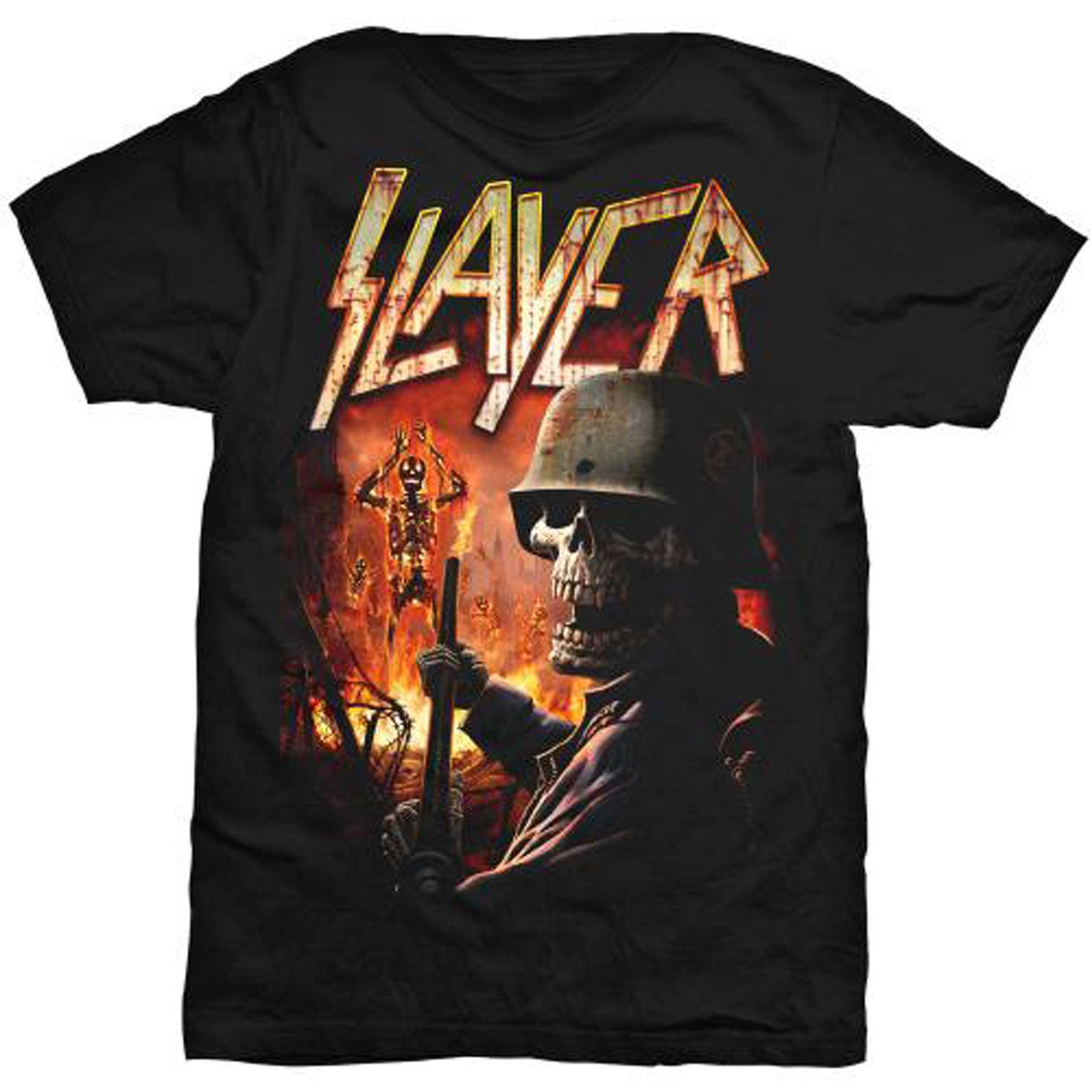 Slayer Burning Fire Thrash Metal Rock T-Shirt Men Short Sleeve T shirt