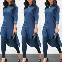 Women Denim Shirt Summer Long Shirts Loose Roll-Up Sleeve Tops Fashion Clothes