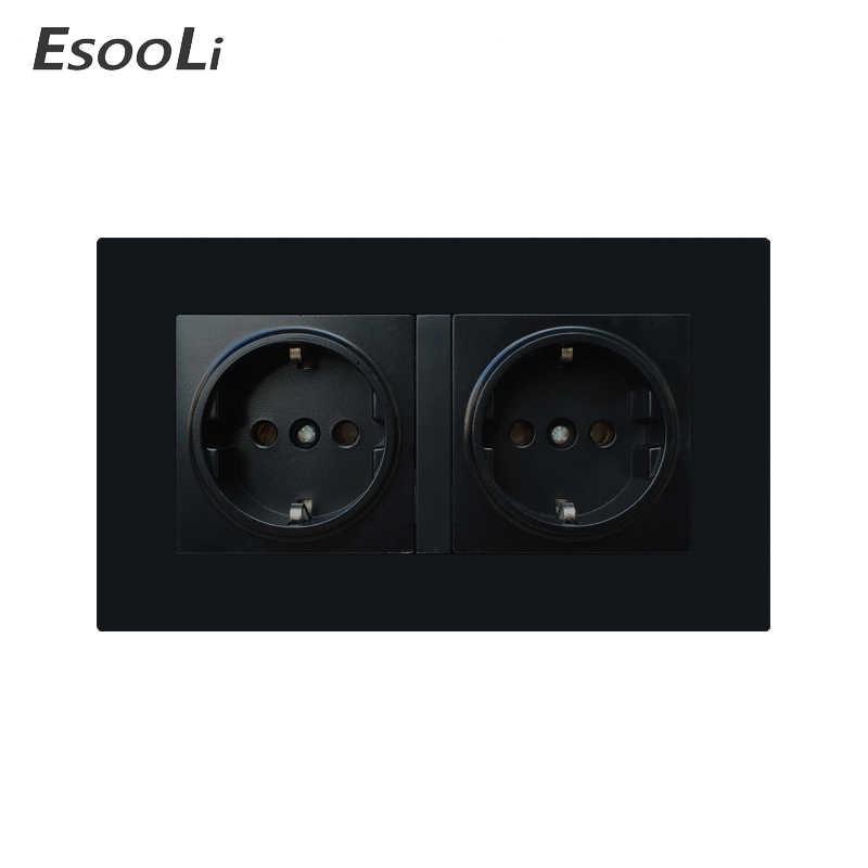 Gniazdo ścienne EsooLi ue wtyczka gniazdka elektryczne dla inteligentnego domu podwójne 16A 250V standardowe gniazdo zasilania ue czarny panel z tworzywa sztucznego