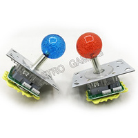 2pcs 40mm Crystal ball top Red blue Illuminated 5 pin LED joystick with 8 way 4 way restrictor for Arcade cabinet game machines