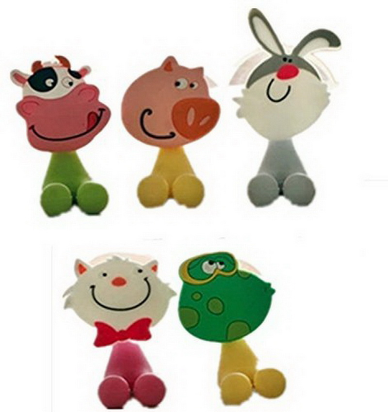 5Pcs/set Animal Cute Mini Cartoon Suction Cup Toothbrush Holder Bathroom Accessories