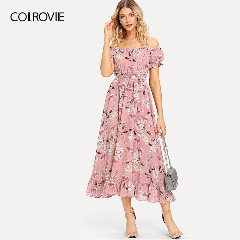 COLROVIE Pink Floral Print Boho Long Dress 180521404