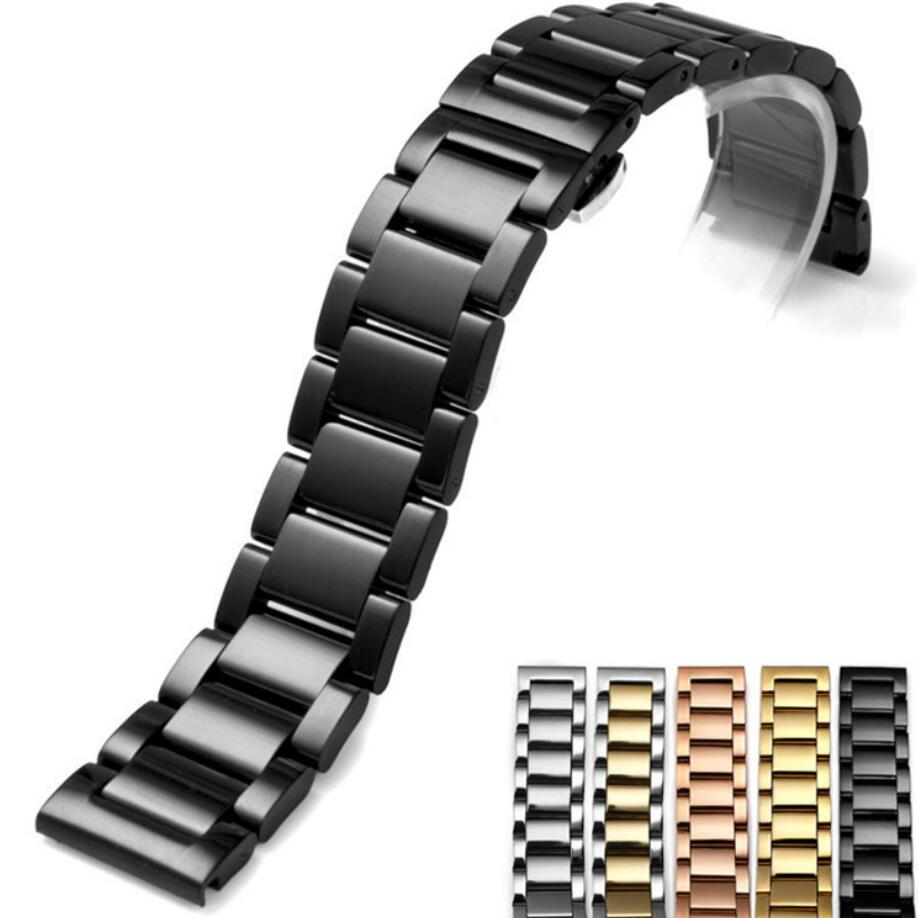 SANYU 4 Colors 18mm 20mm 22mm Width Watchbands Universal Strap For Smart Watch Metal Three Links Stainless Steel Watch Band