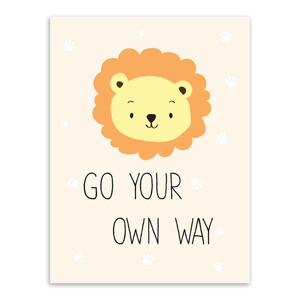 Modern Kawaii Animals Pet Cat Lion Quotes Canvas A4 Art Print Poster ...