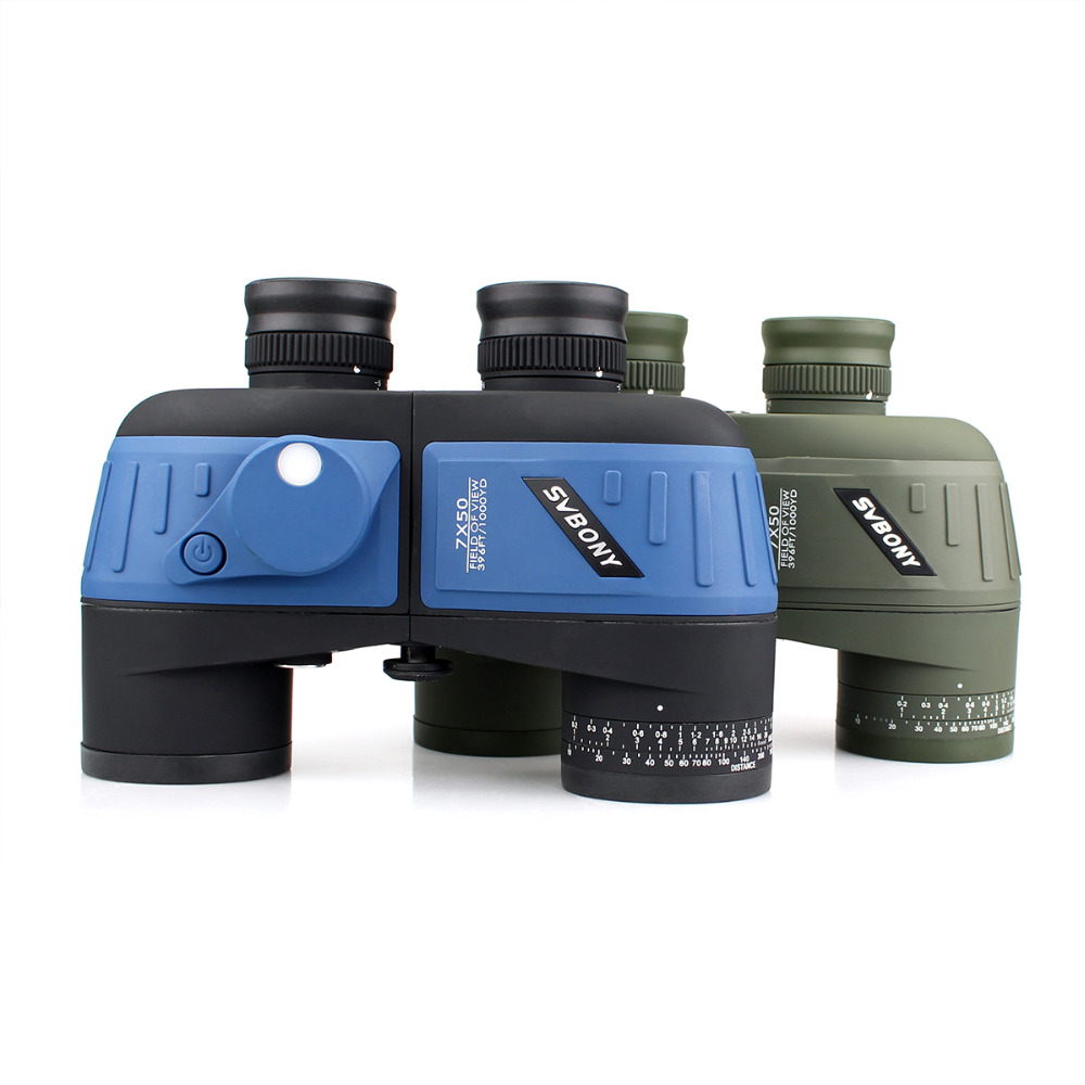 SVBONY Military 7x50 Binoculars Waterproof Nitrogen Floating Power w/Internal Rangefinder & Compass Army Green Telescope F9316 comet 10x 50mm binoculars w nylon bag army green