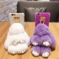 Borla de lujo 3d del teléfono del conejito peludo contraportada para iphone 7 7 plus 6 6 s Más 6 sPlus 5 5S SÍ Suave Casos de Piel de Conejo Caliente Del Pelo