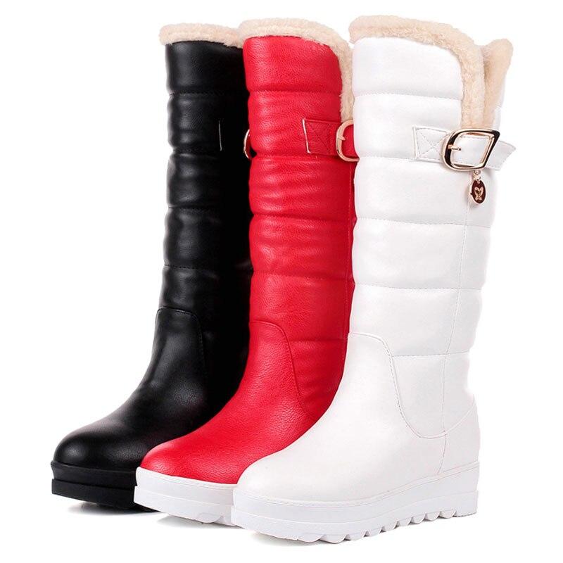 43 Fourrure De Taille Chaud En Chaussures Rembourré Haute red forme Fanyuan Neige Talon White Genou Plate black Ascenseur Femmes Hiver Femme Faible Bottes 34 Coton Panqw7xn1H