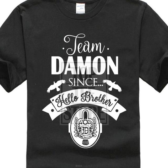 28ee00770e48 Hot Sales2017 Fashion Team Damon Since Hello Brother Damon Salvatore 3D  Printed Men s High Quality Tee Shirt