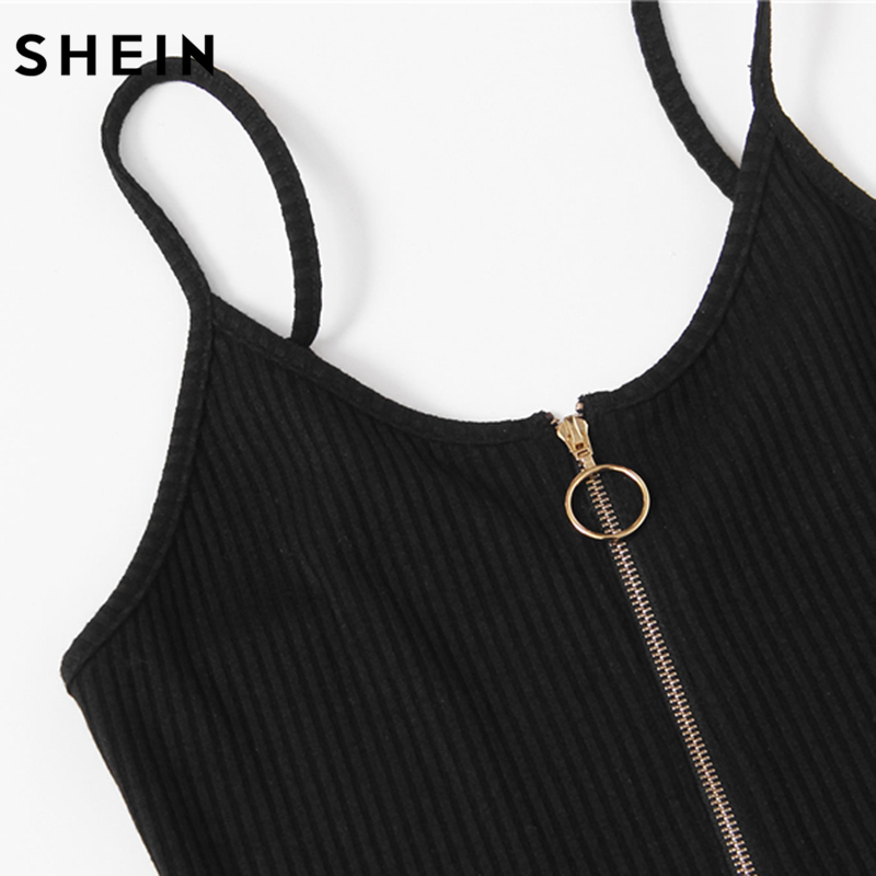 Shein O-ring Zipper Front Ribbed Cami Bodysuit Summer Casual Black Scoop Neck Sleeveless Sexy Bodysuits For Women #4