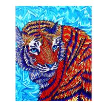 animal Tiger crystal Diamond Painting Partial Round Blue background New DIY Sticking Drill Cross Embroidery 5D Home Decoration