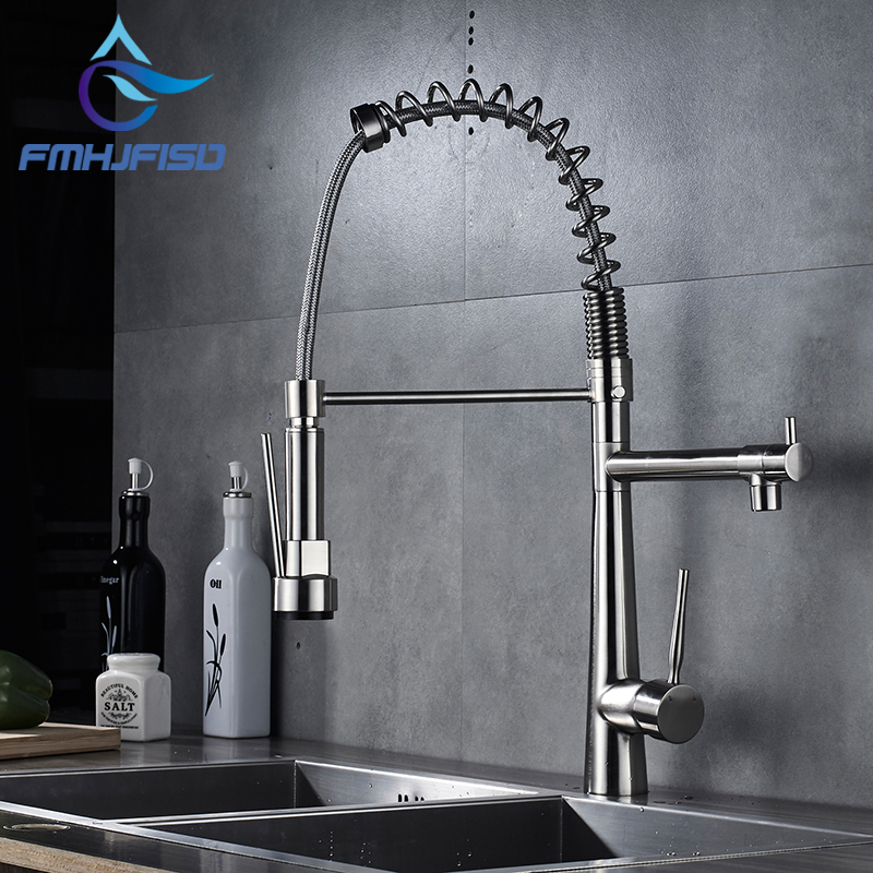 цена на High Quality Brushed Nickel Pull Out Spring Kitchen 2 Handle Single Hole Faucet Swivel Spout Vessel Sink Mixer Tap