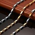 Vnox 55 cm longo banhado a ouro colar de corrente para os homens de aço inoxidável pingente de metal diy