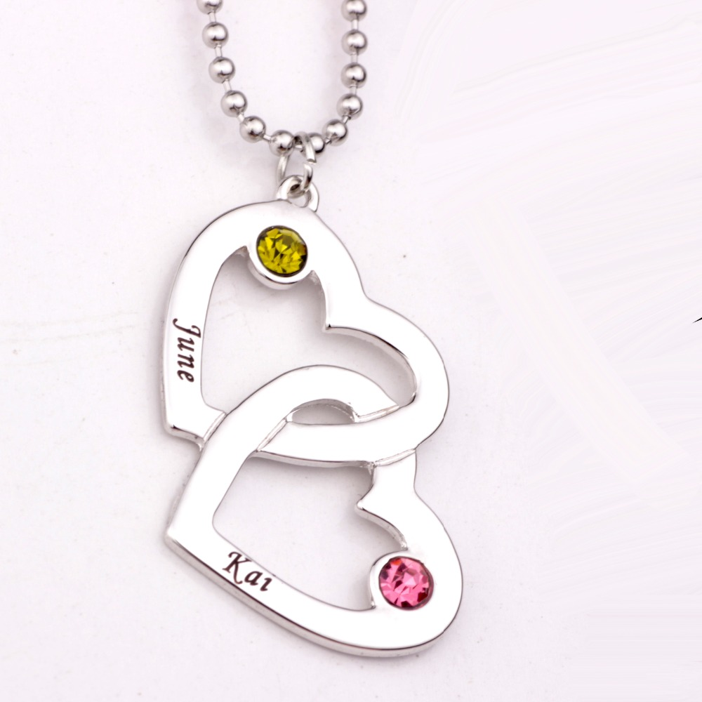 Personalized Open Heart in Heart Shape Necklace with Birthstones Long Birthstone Necklaces Custom Made Any Name