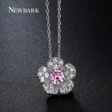 NEWBARK Cute Necklaces & Pendants Pink Centre CZ Stone Sakura Flower Chain Choker Paved Zirconia Fashion Jewelry For Best Friend