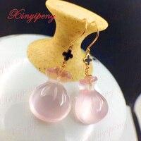 Xin yi peng 18 k желтое золото инкрустированные натуральная пудра Кристалл Роза кварцевые Висячие серьги, женские серьги, Подарок на годовщину