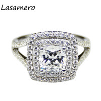Cushion Cut 2ct Lab Created Diamond Double Halo Accents 9k White Gold Engagement Ring Duel Esdomera