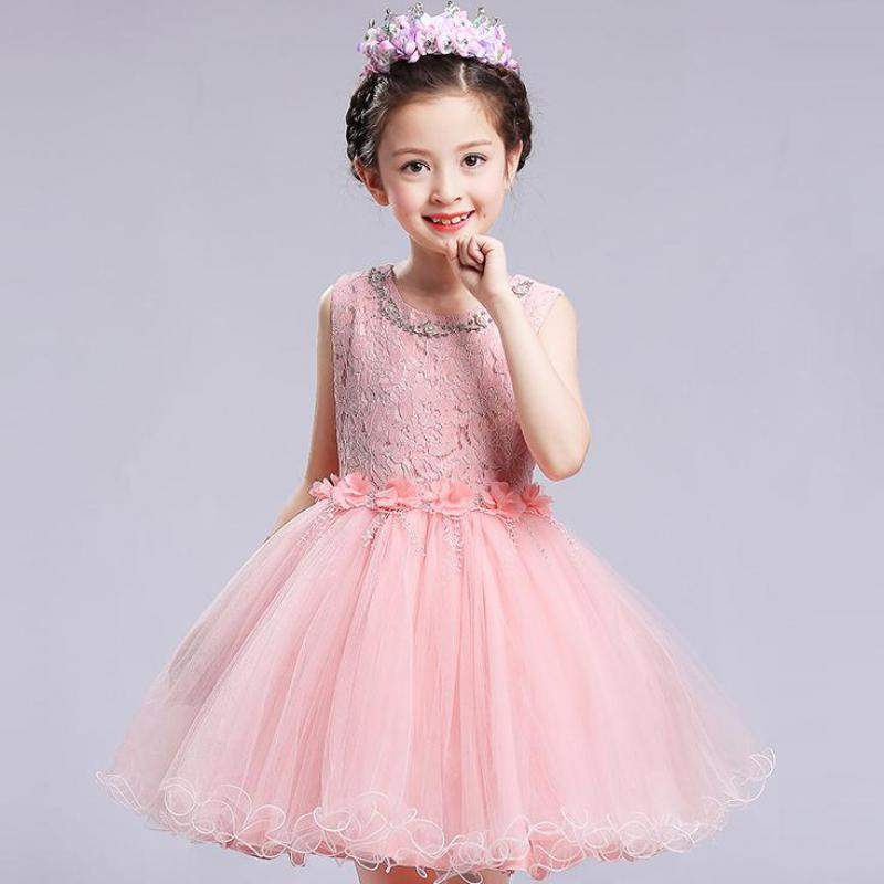 2018 New Sweet Tulle Flower Beading Lace Pink White Ball Gown Girl Birthday Party Dress For Wedding First Communion Prom Dresses 2017 new beading lace v neck flower girl dress baby prom girls dress holy first communion dress kids birthday princess dresses