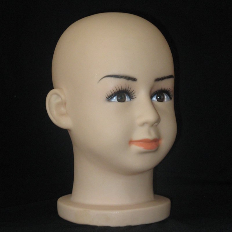 Displaying cap mannequin head Dummy Baby Boy Girl Head Plastic Lovely Children Mannequin Head For Hat and Wig (2)