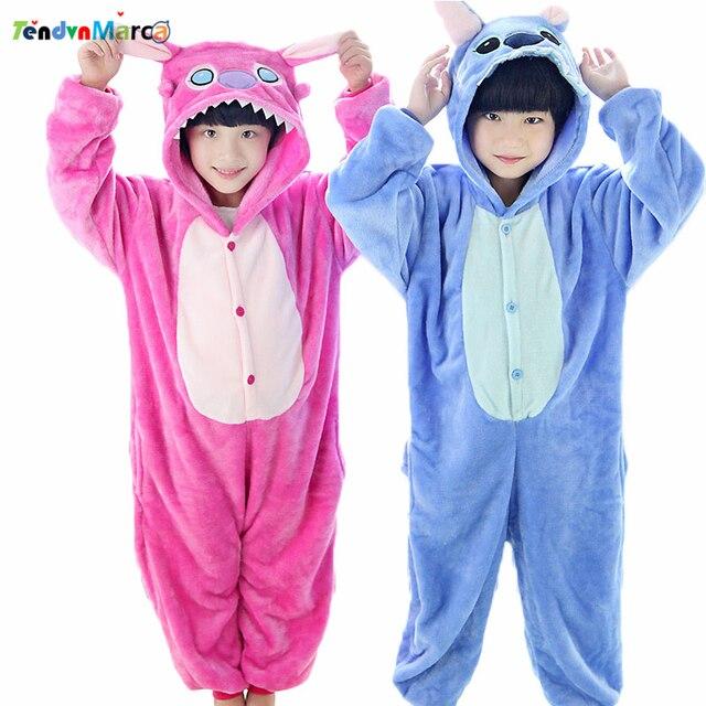0b2b4984ad New Year Lilo Stitch Children s Cartoon Animal pajamas Flannel for Boys  Girls pijama Onesie Pyjamas Birthday   Christmas Gifts