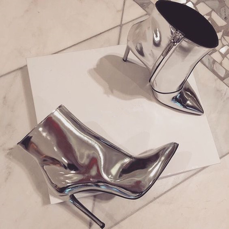 Street Style Silver Metallic Patent Leather Women Boots New Arrival High Heels Fashion Runway Dress Women Ankle Boots Shoes