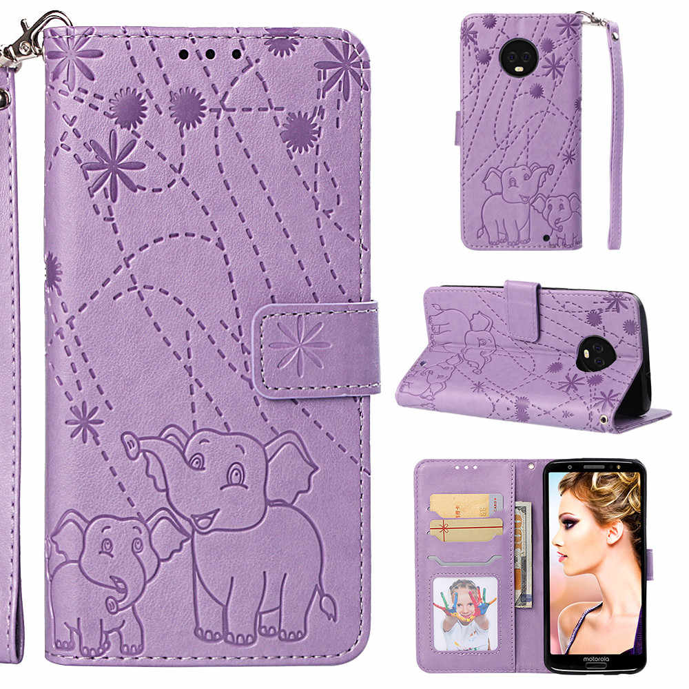 Flip Leather Book Phone Case Shell for Motorola Moto One G6 Plus P30 Play Fireworks Elephant Texture Wallet Card Pocket