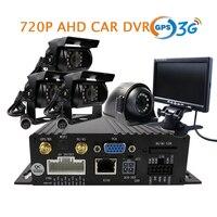 Free Shipping 4 CH GPS 3G SD 720P AHD Car DVR Video Recorder 4 Pcs Back