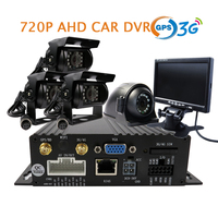 Free Shipping 4 CH GPS 3G SD 720P AHD Car DVR Video Recorder 4 Pcs Back