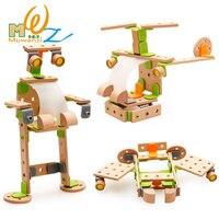 Wooden Blocks Bricks Building Sets Kit Model Helicopters Plane Robot Educational Assemble Toys Gift For Children Kids Boys Girls