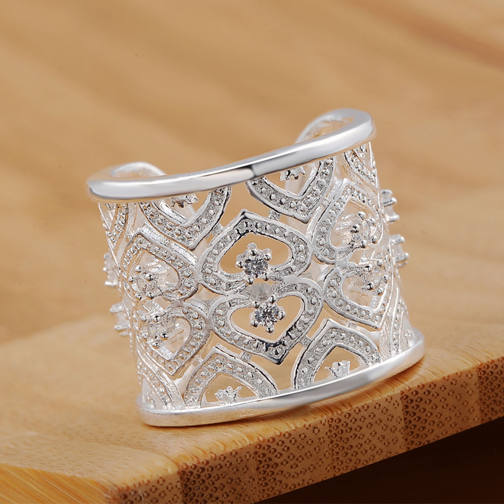 kinsle R106 Christmas gift free shipping wholesale Lovely crystal silver plated ring high quality fashion classic Jewelry women