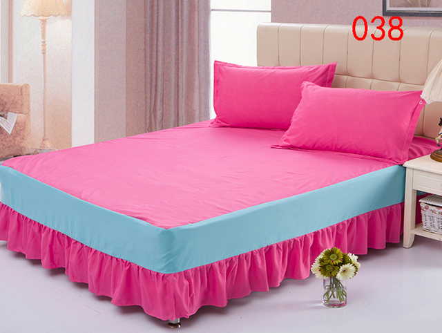 Pink Polyester Bed Skirt Mattress Cover Petticoat Twin Full Queen Skirts Dust Ruffle Bedspread 120