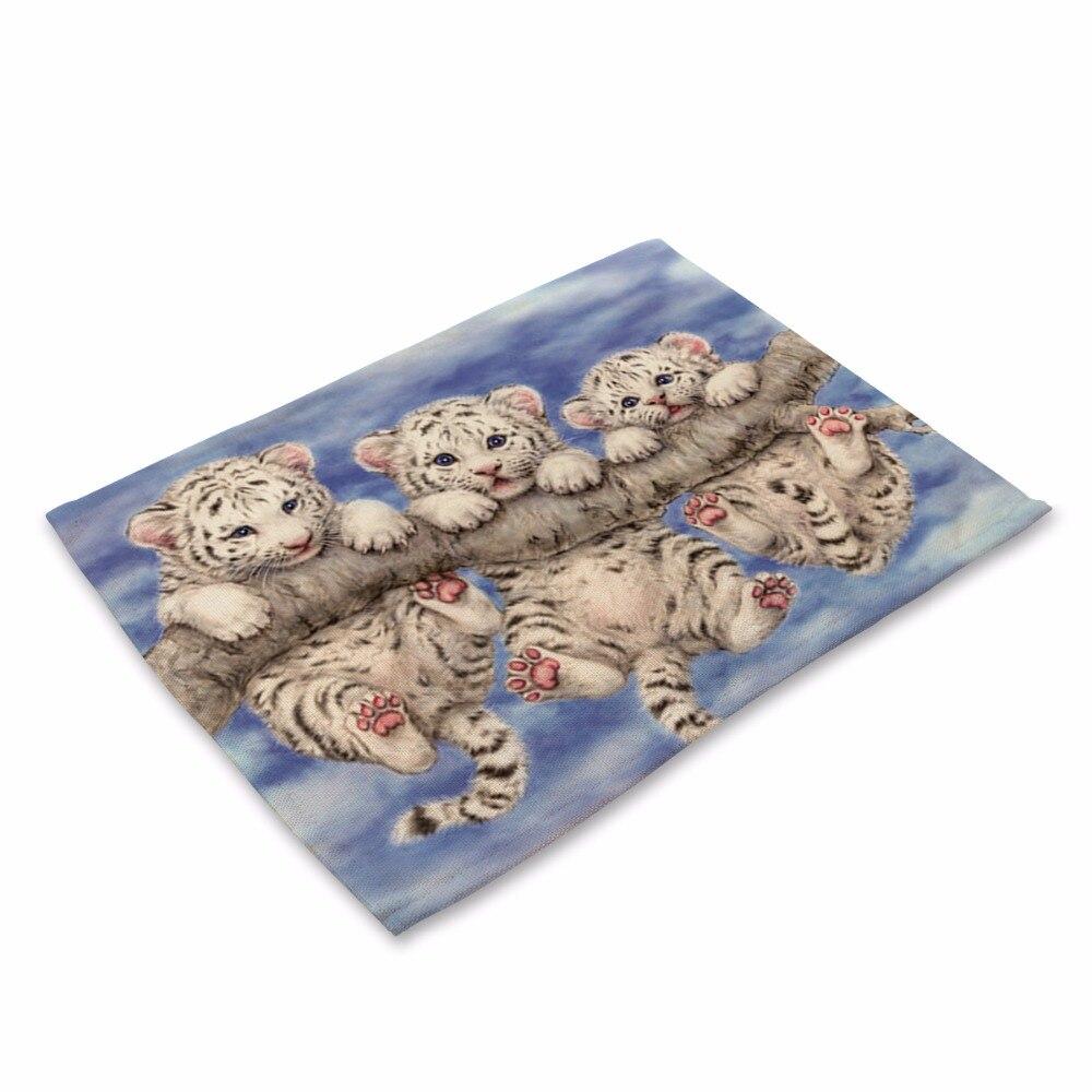 Creative Animal Cute Cartoon panda Printed Table Napkin For Wedding Set Bowl Dining Mats 42*32cm Kids Table Set Home Decoration
