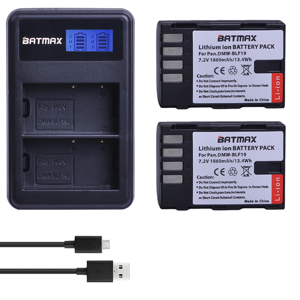 2Pcs 1860MaH DMW-BLF19 DMW BLF19 BLF19E DMW-BLF19e DMW-BLF19PP Battery+ LCD Dual USB Charger for Panasonic Lumix GH3 GH4 GH5 G9 kingma dmw blf19e dual usb battery charger for panasonic dmc gh4 gh3 black