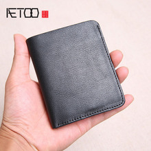AETOO Wallet Mens Short Leather Top Layer Slim Mini Vertical Student Manual Soft