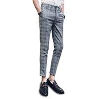 2018 Summer Casual Pants Male Korean Slim Feet Trend Wild Plaid Cropped Pants Youth Business Men Pants