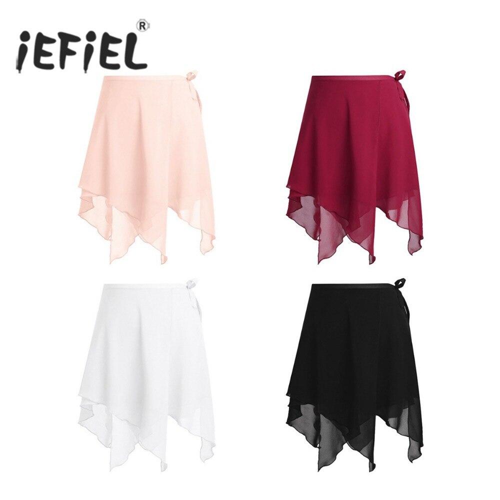 Women Asymmetric Chiffon Ballet Wrap Skirt Dance Skate Wrap Over Scarf With Waist Tie for Gymnastics Leotard Costume Dance Skirt