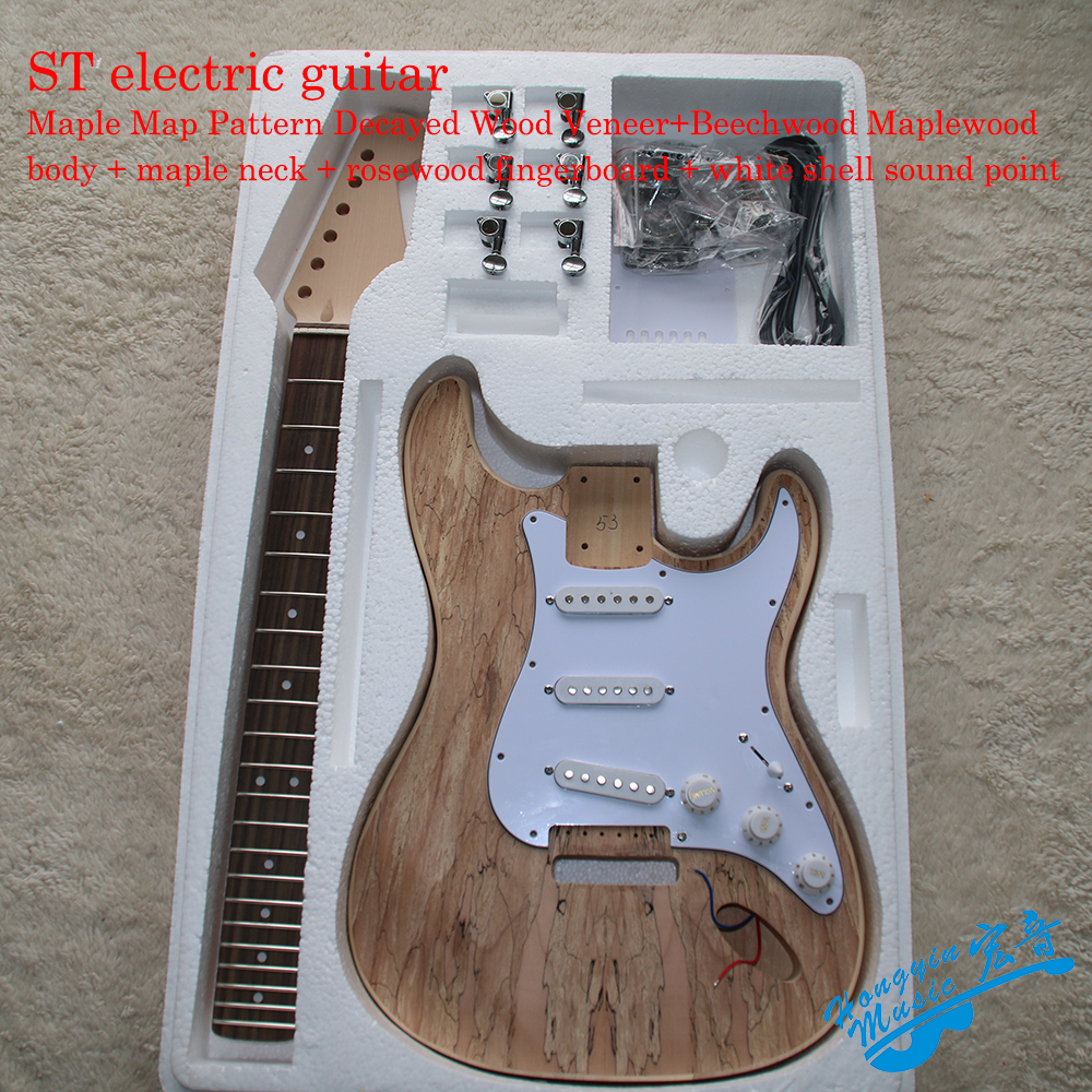 ST Style Electric Guitar DIY Kit Set Map Pattern Veneer Beechwood Maplewood Body Maple Neck Rosewood Fingerboard white tiger pattern 3a grade maple veneer lp style electric guitar diy kit african mahogany okoume body neck rosewood fretboard